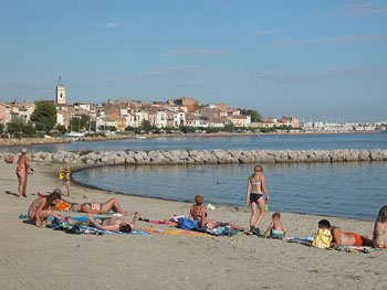 French beach women Bouzigues beach Languedoc Roussillon
