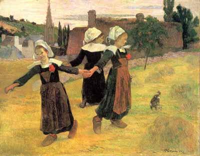 Breton Girls Dancing by Gauguin, Famous French Painter