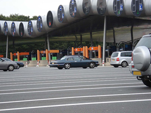 driving in France tollbooth