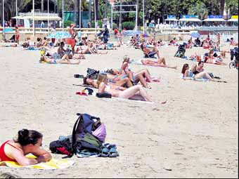 French beach women at Cannes beach