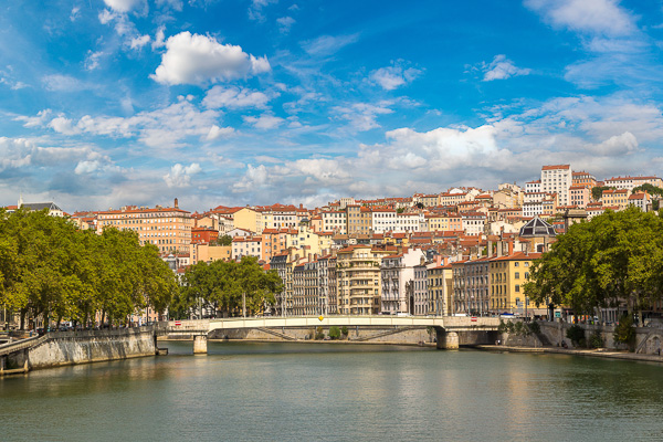 famous French food city of Lyon. View from the Saone river.
